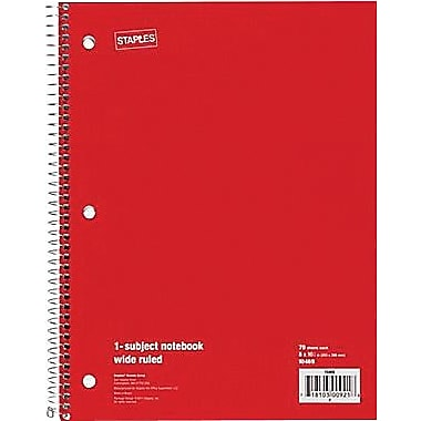 Staples® 1 Subject Notebook, College Ruled, 8