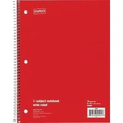 "Staples® 1 Subject Notebook, College Ruled, 8"" x 10-1/2"", Red"