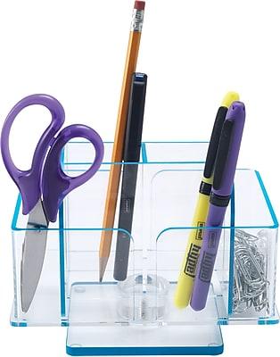 Staples Acrylic Revolving Desk Organizer, Blue Edge