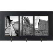"Malden 3-Opening Window Floater MDF Picture Frame With Hook, Black, 5"" x 7"""