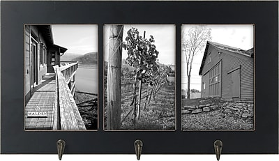 Malden 3-Opening Window Floater MDF Picture Frame With Hook, Black, 5
