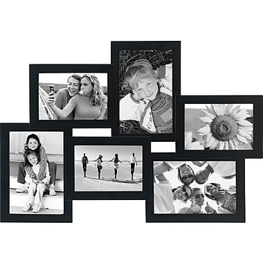 Malden 6-Opening Wood Puzzle Collage Picture Frame, Black, 4