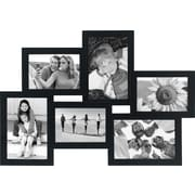"Malden 6-Opening Wood Puzzle Collage Picture Frame, Black, 4"" x 6"""