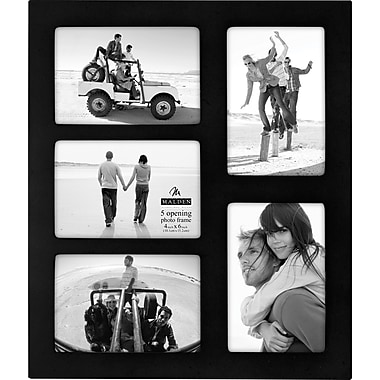 Malden Classic Linear 5-Opening Wood Picture Frame, Black, 4