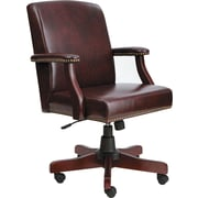 Traditional Series Mid-Back Chair, Mahogany Finish/oxblood Vinyl
