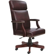 Traditional Series High-Back Chair, Mahogany Finish/oxblood Vinyl