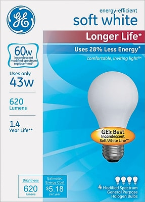 Energy-Efficient Halogen Bulb, A19, 43 W, Soft White