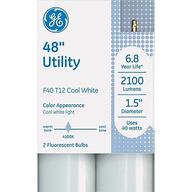T12 Fluorescent Utility Bulb, 40 Watts, 48