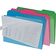 Clear View Interior File Folders, 1/3 Cut Top Tab, Letter, Assorted, 6/Pk