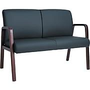 Reception Lounge Series Wood Loveseat, 44 7/8 x 26 x 33 1/4, Black/mahogany