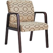 Reception Lounge Series Guest Chair, Mahogany/tan Fabric