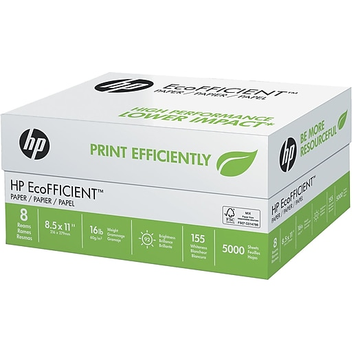 HP EcoFFICIENT Paper, 8-1/2 x 11, White, 5000/Carton (216000)