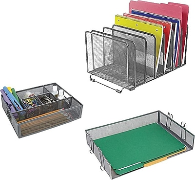 Staples Metal Mesh Desk Accessories Silver