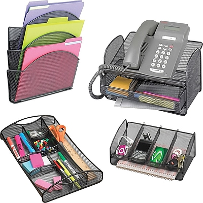 Safco® Onyx Steel Mesh Desk Accessories Collection