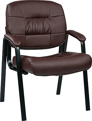 Office Star™ Deluxe Eco Leather Guest Chair, Burgundy