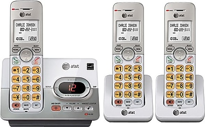 AT&T EL52303 DECT 6.0 3-Handset Expandable Cordless Phone with Digital Answering System, Silver