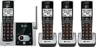 AT&T CL824213 DECT 6.0 4-Handset Expandable Cordless Phone with Digital Answering System and Caller ID/Waiting, Black/Silver