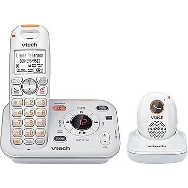VTech CareLine SN6187 DECT 6.0 Expandable Cordless Phone with Answering System and Cordless Pendant, White