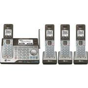 AT&T CLP99483 DECT 6.0 Expandable Cordless Phone with Bluetooth Connect to Cell and Answering System, Silver/Black, 4 Handsets