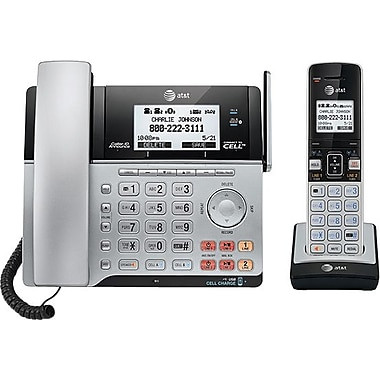 AT&T TL86103 DECT 6.0 2-Line Expandable Corded/Cordless Phone with Bluetooth Connect to Cell and Answering System, Silver