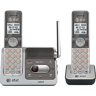 AT&T CL82201 DECT 6.0 Expandable Cordless Phone with Answering System and Caller ID/Call Waiting, Silver, 2 Handsets