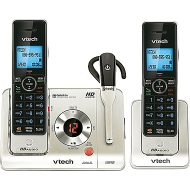 VTech LS6475-3 DECT 6.0 Expandable Cordless Phone and Headset with Answering System, Silver