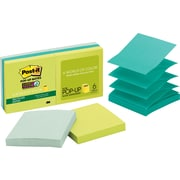 "Post-it® Recycled Super Sticky Pop-up Notes, 3"" x 3"", Bora Bora Collection, 6 Pads/Pack (R330-6SST)"