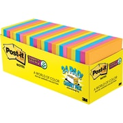 "Post-it® Super Sticky Notes Cabinet Pack, Rio De Janiero Colors, 3"" x 3"", 24/pack"