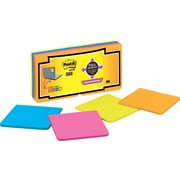 "Post-it® Super Sticky Full Adhesive Notes, 3"" x 3"", Rio de Janeiro Collection, 16 Pads/Pack (F33016SSAU)"