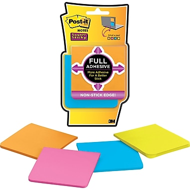 Post-it® Super Sticky Full Adhesive Notes, Rio De Janeiro Collection, 3