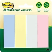 """Post-it® Greener Page Markers, 1"""" x 3"""", Marseille Collection, 200 Flags/Pack (6714RPA)"""