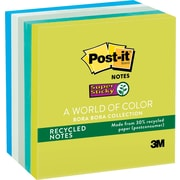 """Post-it® Recycled Super Sticky Notes, 3"""" x 3"""", Bora Bora Collection, 5 Pads/Pack (654-5SST)"""