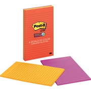 "Post-it® Super Sticky 5"" x 8"" Line-Ruled Marrakesh Large-Format Notes, 4 Pads/Pack"