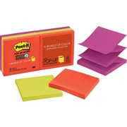 "Post-it® Super Sticky Pop-Up Notes, 3"" x 3"", Marrakesh Collection, 6 Pads/Pack (R330-6SSAN)"