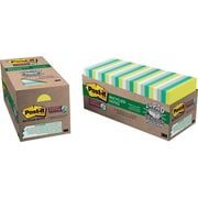 """Post-it® Recycled Super Sticky Notes, 3"""" x 3"""", Bora Bora Collection, 24 Pads/Cabinet Pack (65424SSTCP)"""