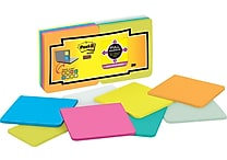 Post-it® Super Sticky Full Adhesive, 3' x 3' Assorted Notes, 16 Pads/Pack