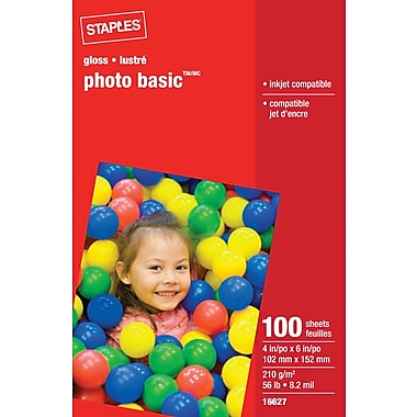 Staples® - Papier photo, 4 po x 6 po, 100 feuilles