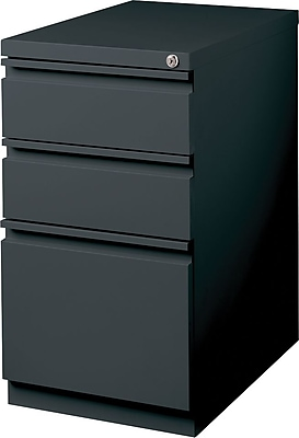 Staples 3 Drawer Mobile/Pedestal File, Charcoal, Letter, 15''W