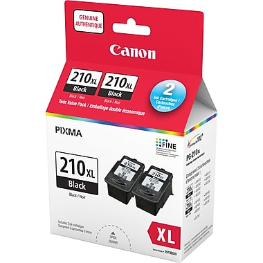 Canon® PG-210XL Black Ink Cartridges, High Yield, Twin Pack (2973B012)