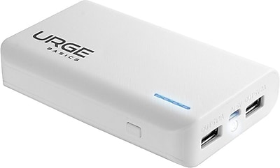 Urge Basics 6,000mAh Dual-Port Power Bank with Built-in Flashlight, White