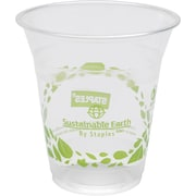 Sustainable Earth by Staples® 12 oz. Plastic Cold Cups, Translucent, 300/Case