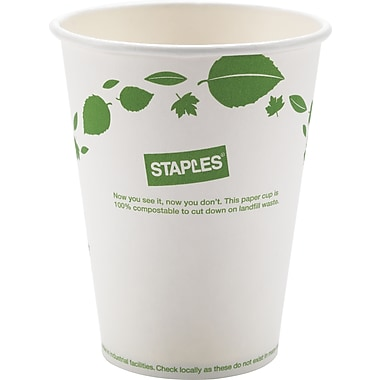 Sustainable Earth by Staples® 12 oz. Paper Hot Cups, White, 300/Pack