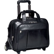 McKlein R Series, DAMEN, Top Grain Cowhide Leather, Patented Detachable -Wheeled Laptop Briefcase, Black (80715)