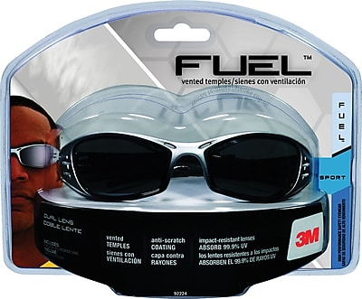 3M Fuel® Sport Safety Eyewear Silver/Black Frame, Gray Mirror Lenses