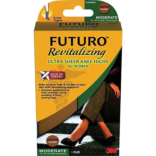 Futuro Revitalizing Ultra Sheer Knee Highs for Women Large