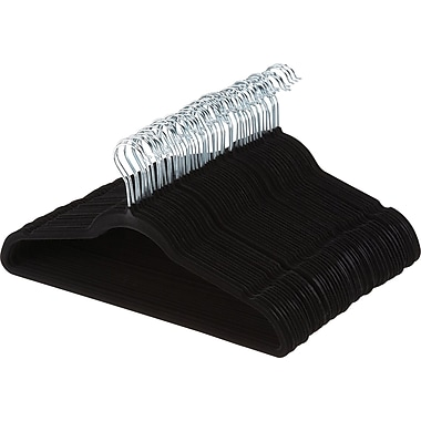 No Slip Velvet Suit Hangers, Black, Set of 50