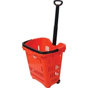 Rolling Plastic Shopping Basket, 40 Liter, Red