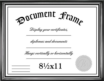 Malden Home Profiles Wood Document Frame, Black/Silver, 8.5