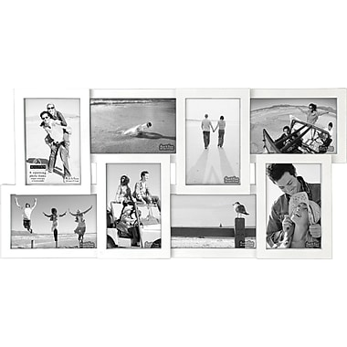 Malden 8-Opening Wood Puzzle Collage Picture Frame, White, 4