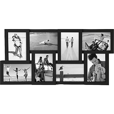 Malden 8-Opening Wood Puzzle Collage Picture Frame, Black, 4